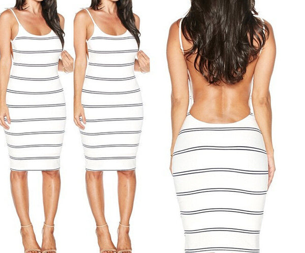 Backless Stripe Knee Length Bodycon Dress - MeetYoursFashion - 2