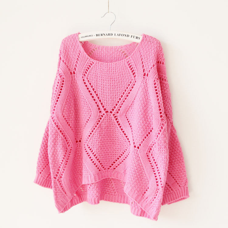 Asymmetric Pullover Crochet Loose Solid Short Sweater - Meet Yours Fashion - 3