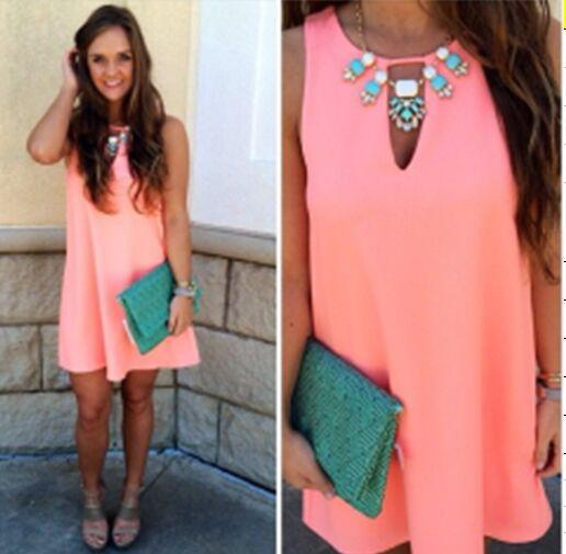 Candy Color Loose Sleeveless Chiffon Short Dress - Meet Yours Fashion - 4