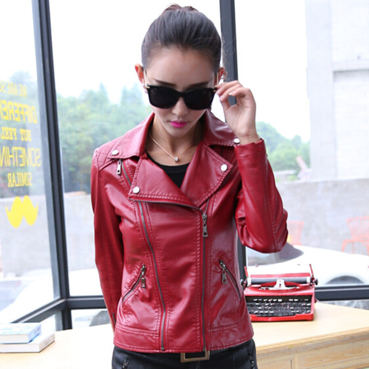 Oblique Zipper Lapel Pockets Rivet Crop Jackets - Meet Yours Fashion - 4