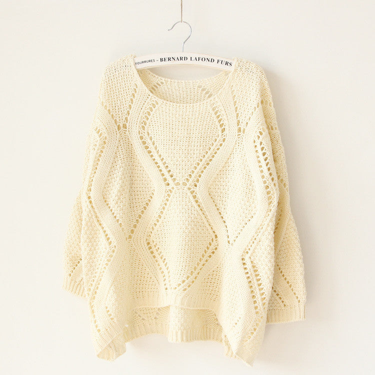 Asymmetric Pullover Crochet Loose Solid Short Sweater - Meet Yours Fashion - 4