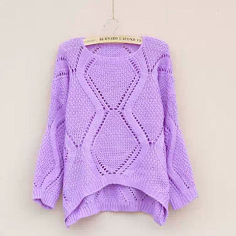 Asymmetric Pullover Crochet Loose Solid Short Sweater - Meet Yours Fashion - 6