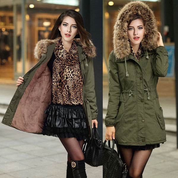 Faux Fur Collar Long Winter Hooded Coat