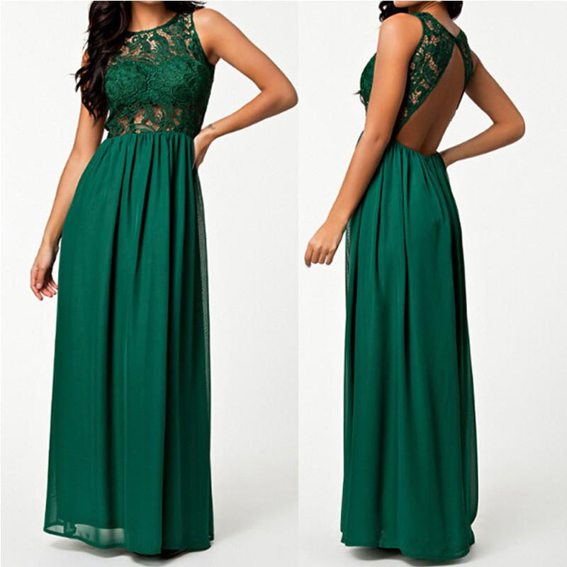 Lace Splicing Chiffon Long Sleeveless Backless Party Dress - Meet Yours Fashion - 1