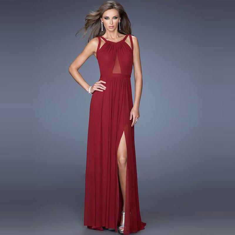 Back Cross Scoop Sleeveless Split Floor-length Solid Club Dress - Meet Yours Fashion - 1