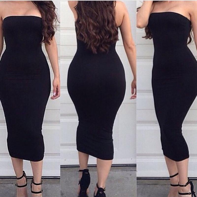 Off Shoulder Sleeveless Bodycon Sheath Knee-length Dress - Meet Yours Fashion - 3