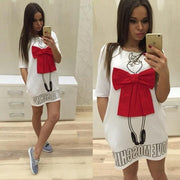Print Bow O-neck Short Sleeve Short Dress - Meet Yours Fashion - 2