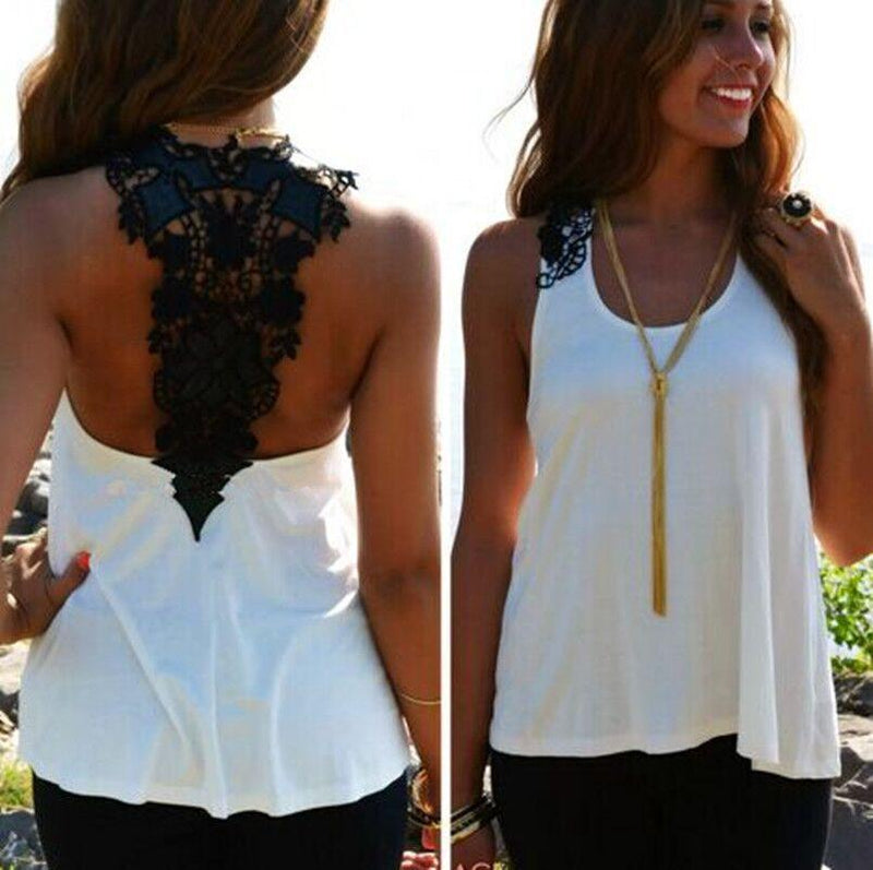 Lace Patchwork Hollow Backless Sleeveless Scoop Vest - Meet Yours Fashion - 4