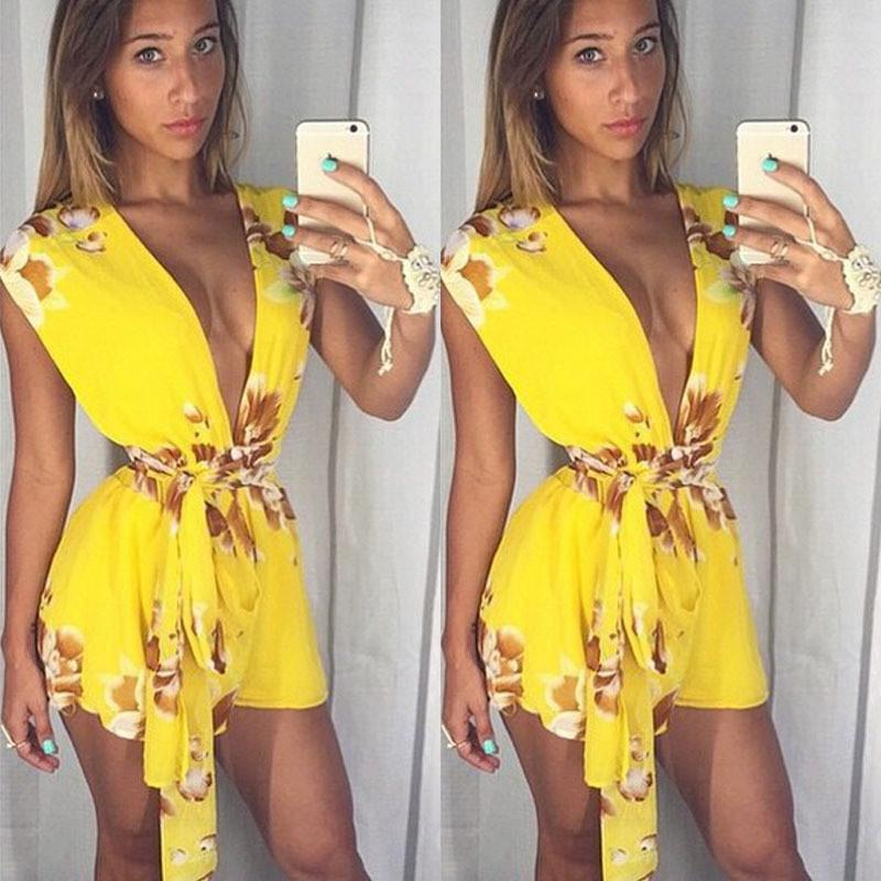 V-neck Sleeveless Flower Print Belt Sexy Short Jumpsuits - Meet Yours Fashion - 2