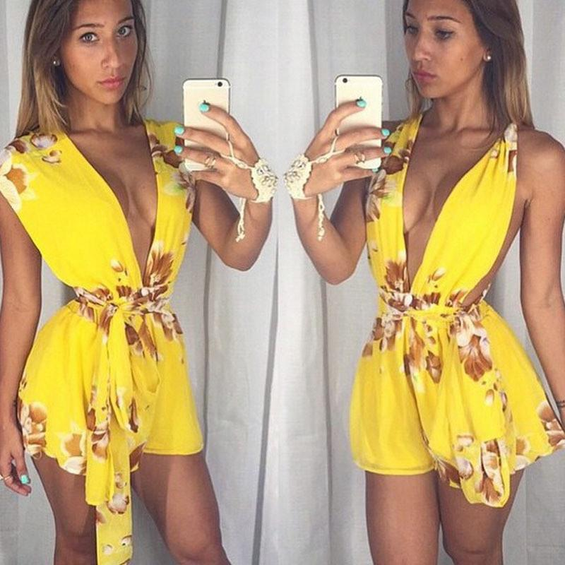 V-neck Sleeveless Flower Print Belt Sexy Short Jumpsuits - Meet Yours Fashion - 1