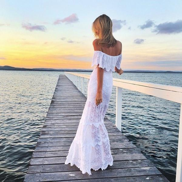 Off Shoulder Lace Mermaid Long Beach Dress - May Your Fashion - 1
