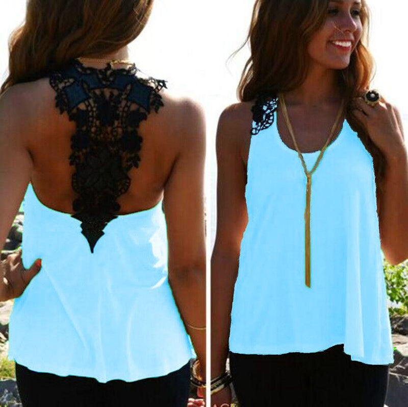 Lace Patchwork Hollow Backless Sleeveless Scoop Vest - Meet Yours Fashion - 3