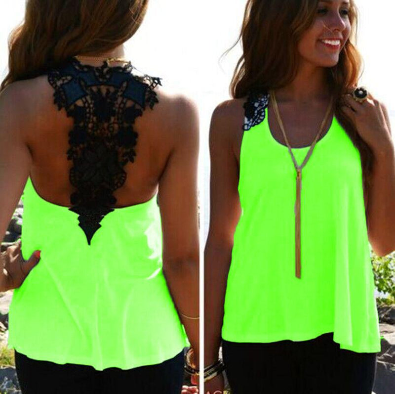 Lace Patchwork Hollow Backless Sleeveless Scoop Vest - Meet Yours Fashion - 1