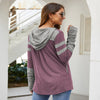 Pullover Drawstring Patchwork Slim Long Hoodies