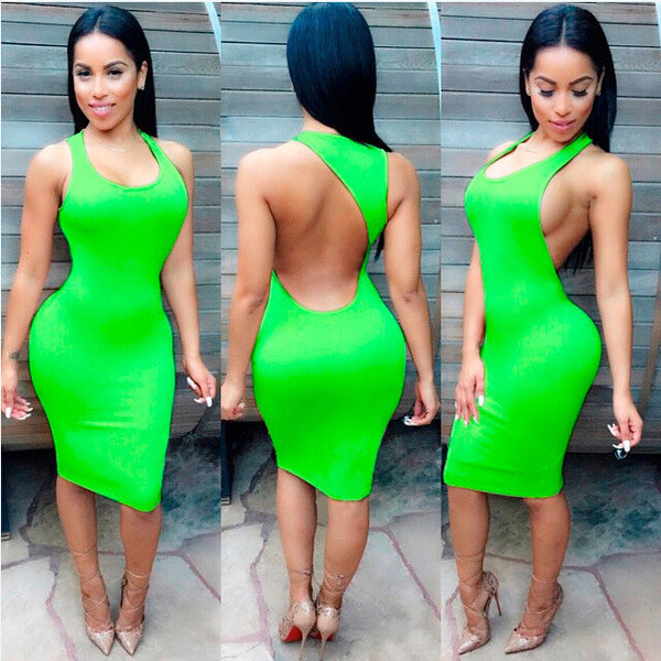 Backless Sandy Color Bodycon Short Bandage Tank Dress - MeetYoursFashion - 1