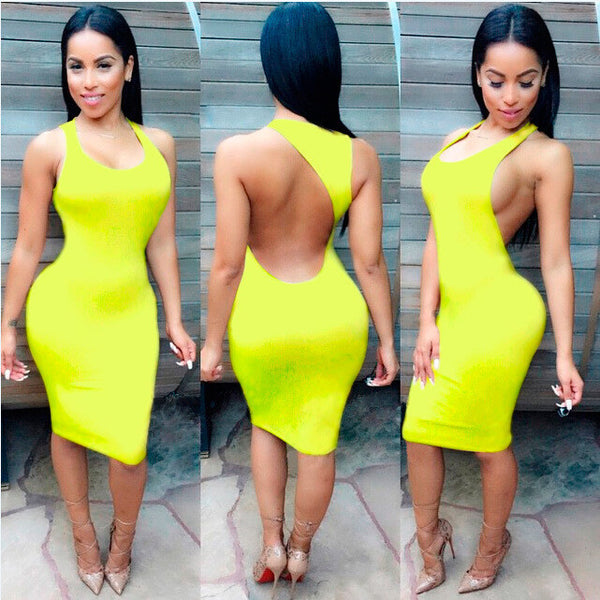 Backless Sandy Color Bodycon Short Bandage Tank Dress - MeetYoursFashion - 2