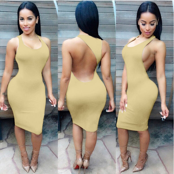 Backless Sandy Color Bodycon Short Bandage Tank Dress - MeetYoursFashion - 7