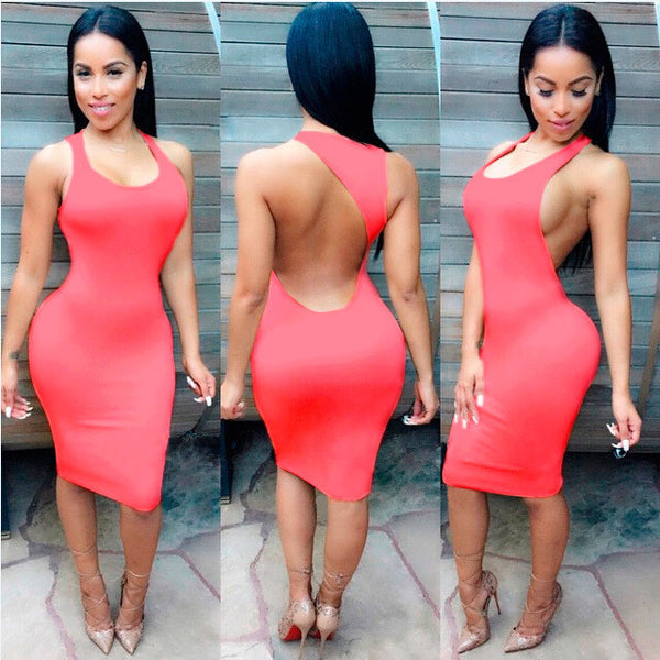 Backless Sandy Color Bodycon Short Bandage Tank Dress - MeetYoursFashion - 5