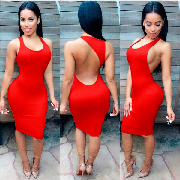 Backless Sandy Color Bodycon Short Bandage Tank Dress - MeetYoursFashion - 6