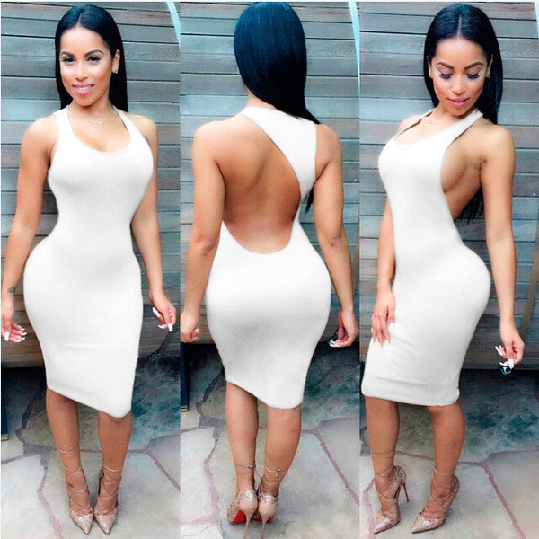 Backless Sandy Color Bodycon Short Bandage Tank Dress - MeetYoursFashion - 4