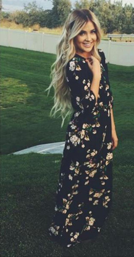 Chiffon Floral O-neck Long Sleeve Long Dress - Meet Yours Fashion - 1