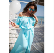 Off Shoulder Short Sleeves High-waist Floor-length Long Dress - Meet Yours Fashion - 2