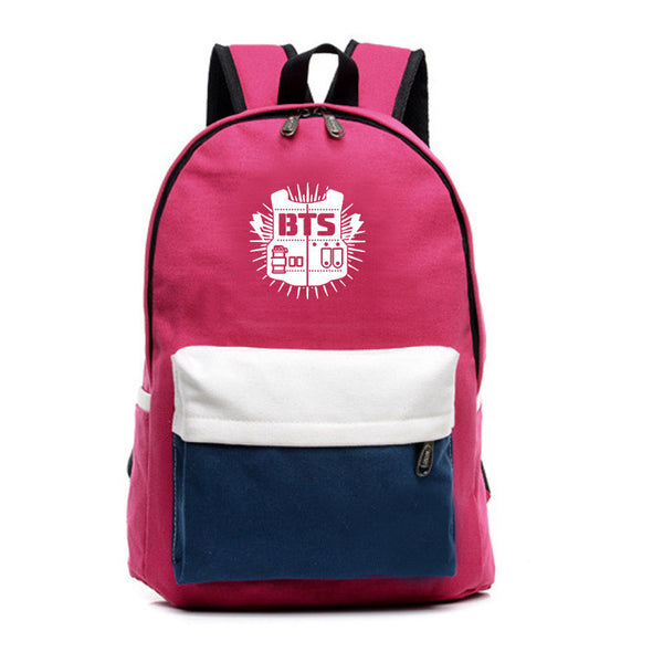 Contrast Color Canvas Letter Print School Backpack - Meet Yours Fashion - 3
