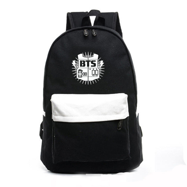 Contrast Color Canvas Letter Print School Backpack - Meet Yours Fashion - 2