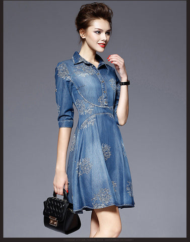Flower Button POLO-neck Short Sleeve Knee-length Dress - Meet Yours Fashion - 4