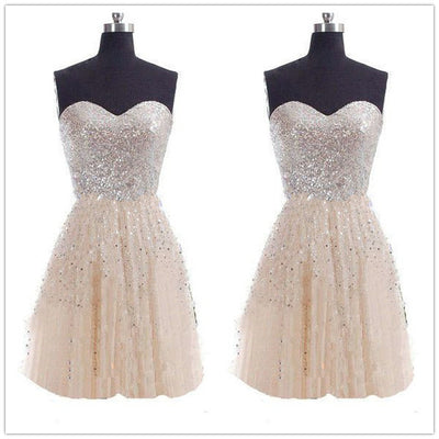 Strapless Pure Color High Waist Splicing Short Dress - Meet Yours Fashion - 1
