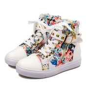 Cute Floral Print Skull Lace Up High Cut Women Sneakers - MeetYoursFashion - 5