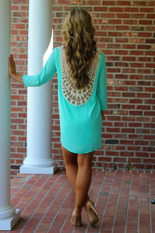 Lace Hollow Out Long Sleeves Backless Loose Short Dress - Meet Yours Fashion - 2