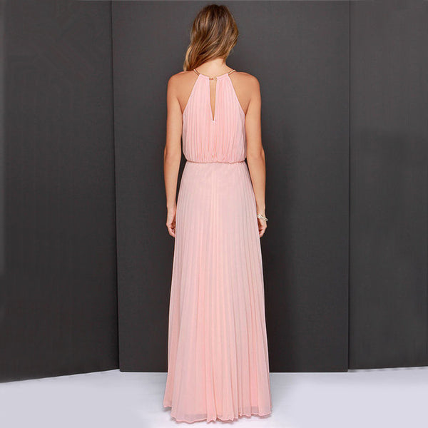 Formal Bear Shoulder Pleated Long Chiffon Maxi Party Prom Dress - MeetYoursFashion - 8