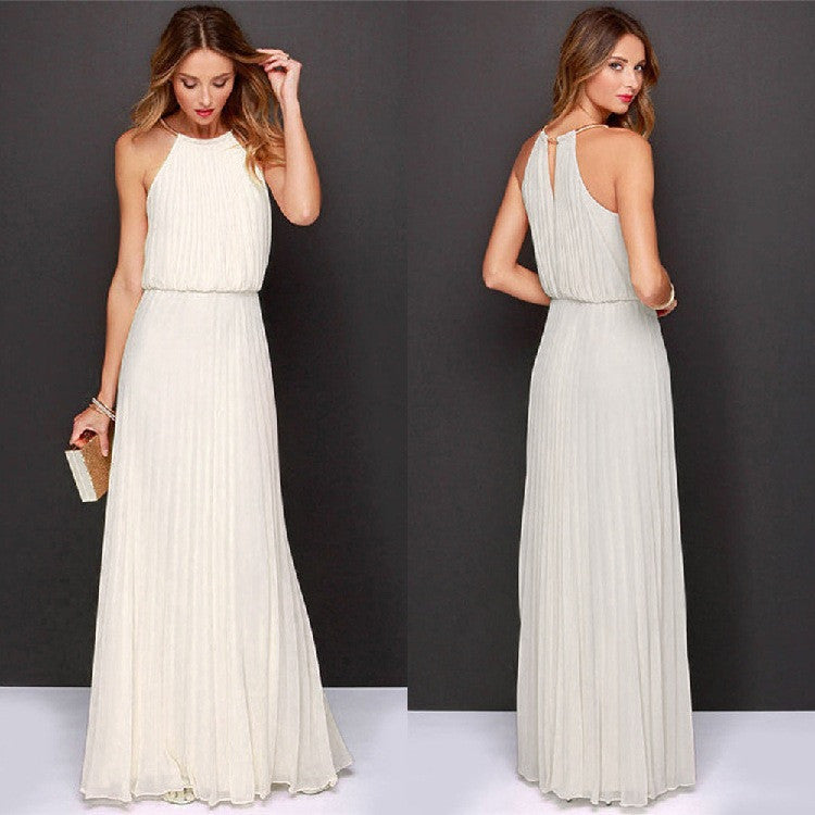 Formal Bear Shoulder Pleated Long Chiffon Maxi Party Prom Dress - MeetYoursFashion - 1