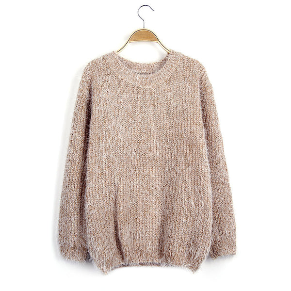 Scoop Solid Mohair Pullover Short Loose Sweater - Meet Yours Fashion - 6