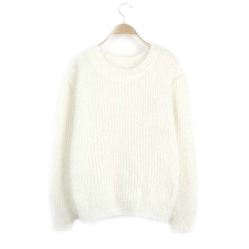 Scoop Solid Mohair Pullover Short Loose Sweater - Meet Yours Fashion - 7