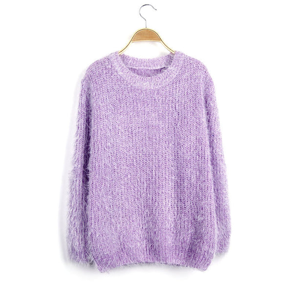 Scoop Solid Mohair Pullover Short Loose Sweater - Meet Yours Fashion - 5