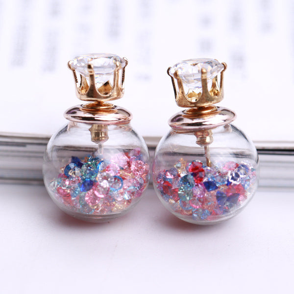 Color Quicksand Zircon Crystal Ball Earring