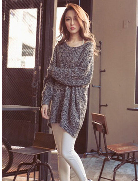 Long Pullover Loose Solid Color Knit Sweater - Meet Yours Fashion - 1