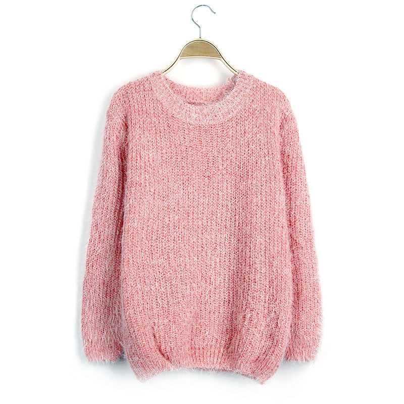 Scoop Solid Mohair Pullover Short Loose Sweater - Meet Yours Fashion - 4