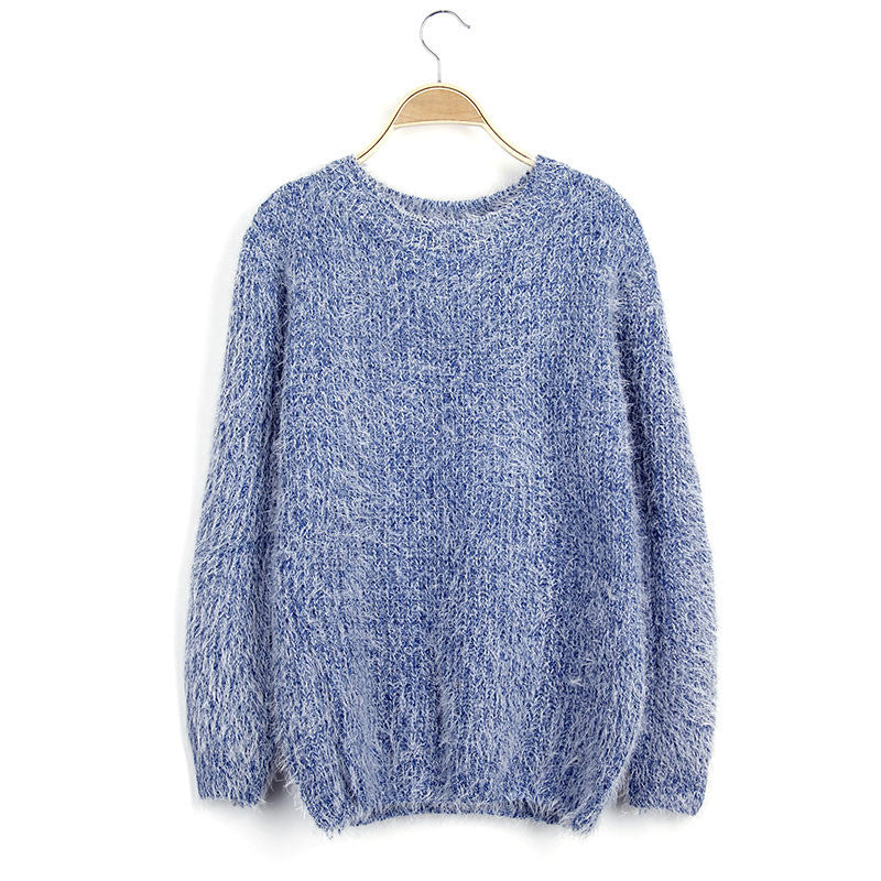 Scoop Solid Mohair Pullover Short Loose Sweater - Meet Yours Fashion - 3
