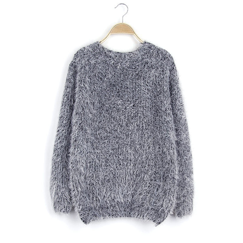 Scoop Solid Mohair Pullover Short Loose Sweater - Meet Yours Fashion - 8