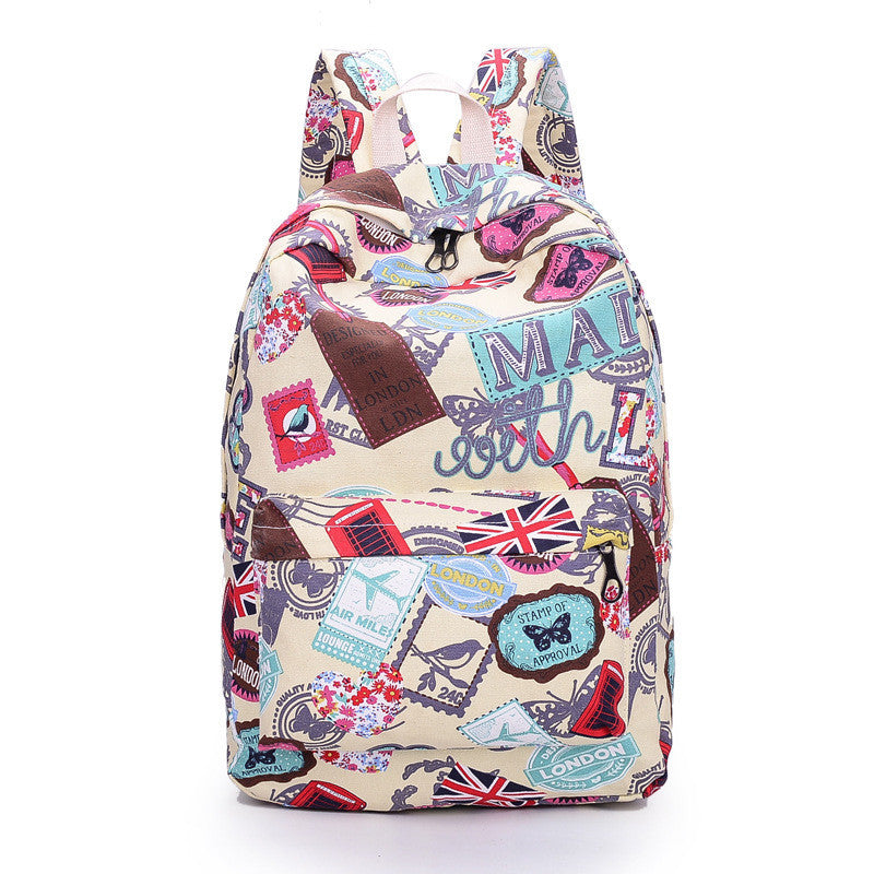 Best Seller Print Backpack Canvas School Travel Bag - Meet Yours Fashion - 1