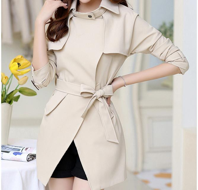 Belt High Neck Long Sleeves Irregular Slim Mid-length Coat - Meet Yours Fashion - 2