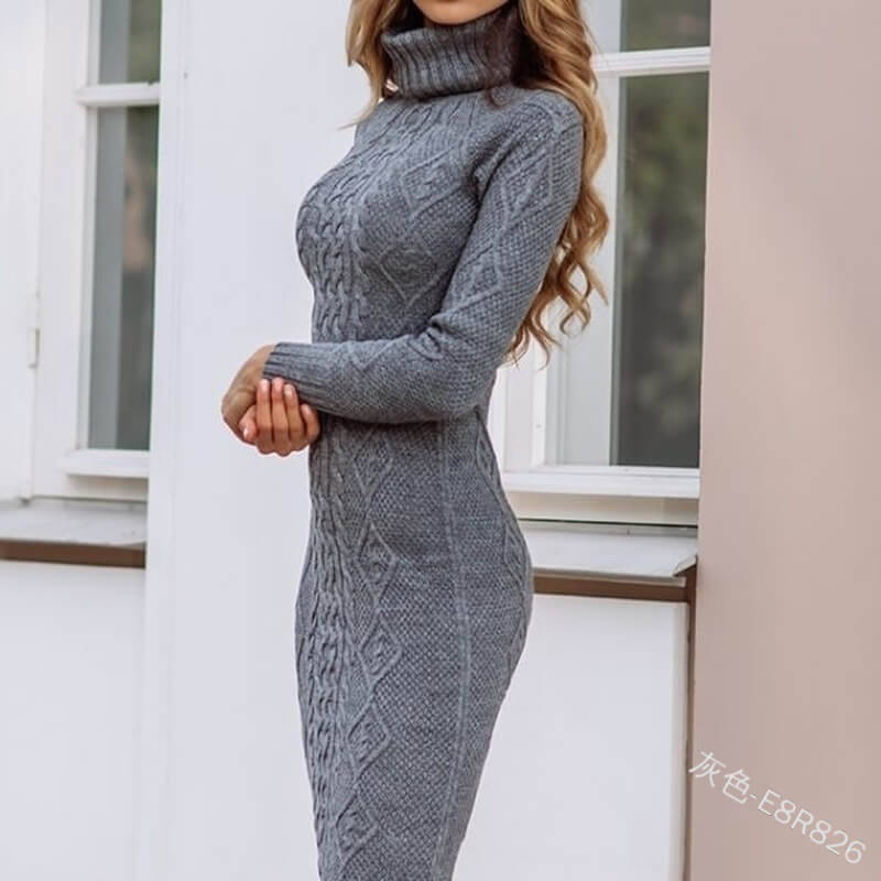 Knee Length Knitted Sweater Dress