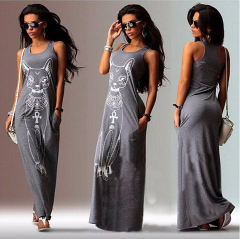 Cat Print Sleeveless Long Tank Dress - MeetYoursFashion - 5
