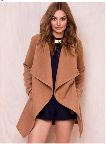 Khaki Lapel Asymmetric Woolen Coat - Meet Yours Fashion - 1