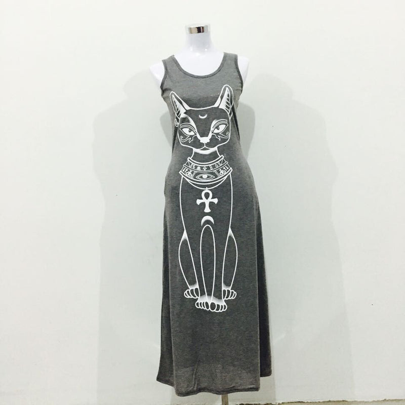 Cat Print Sleeveless Long Tank Dress - MeetYoursFashion - 6