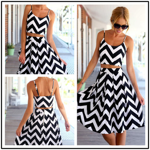 Striped Spaghetti Strap Crop Top Pleated Knee-length Skirt Dress Suit - Meet Yours Fashion - 2