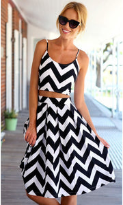 Striped Spaghetti Strap Crop Top Pleated Knee-length Skirt Dress Suit - Meet Yours Fashion - 1
